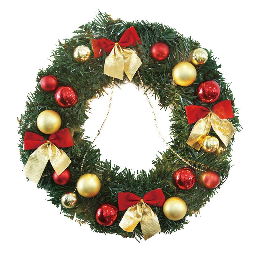 Baomabao 30cm Christmas Large Wreath Door Wall Ornament Garland Decoration Red Bowknot