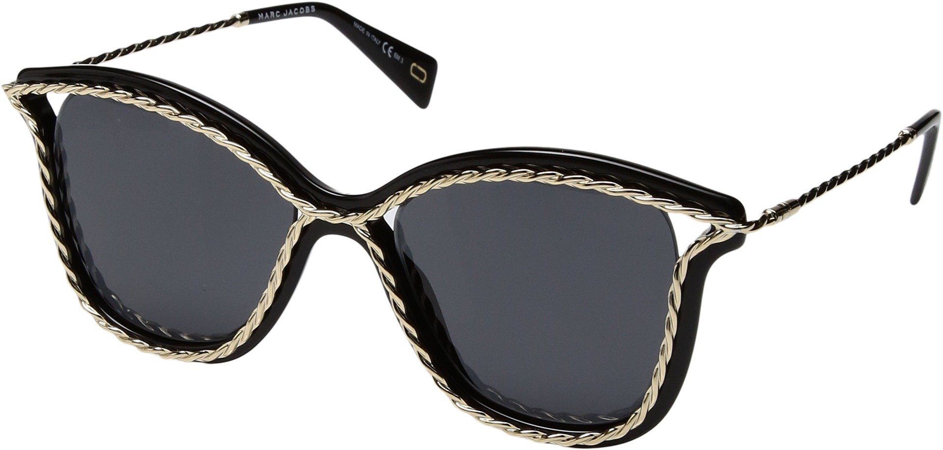 Marc Jacobs Women's Rope Outline Sunglasses, Black Gold/Grey, One Size by Marc Jacobs