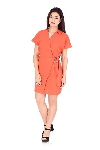 brand new c3307 09f51 Guess Abito Corto Donna Rosso Corallo: Amazon.it: Abbigliamento