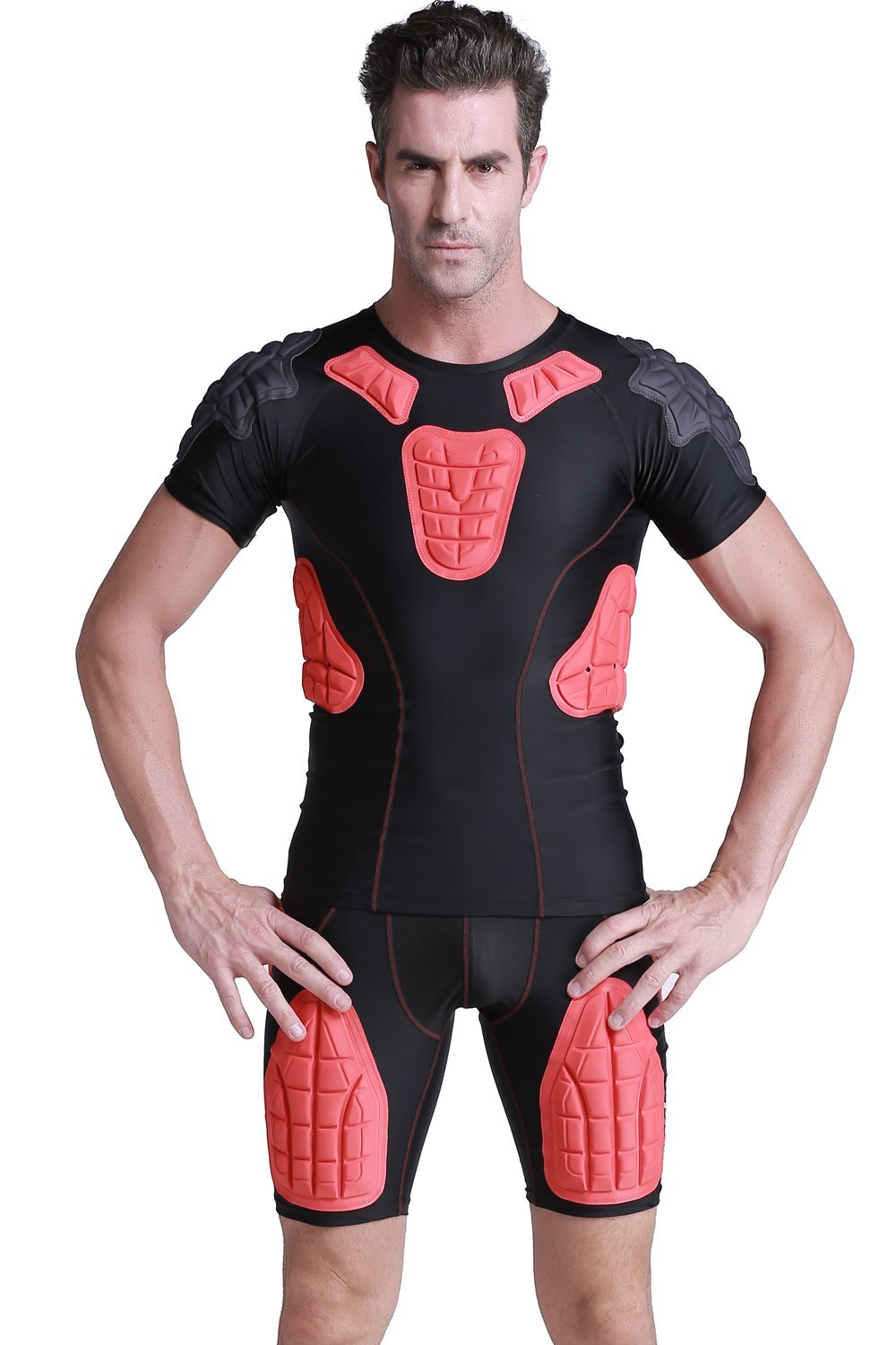 TUOY Men's Boys Padded Compression Shirt Rib Protector for Football Paintbal by TUOY