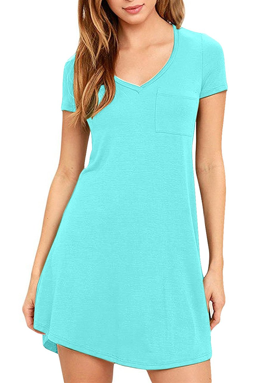 Eanklosco Womens Casual Short Sleeve Plain Pocket V Neck T Shirt Tunic Dress (Nile Blue, L)