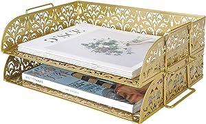 PAG 2 Tier Desktop File Organizer Metal Stackable Letter Tray Paper Holder Rack for Desk, Gold