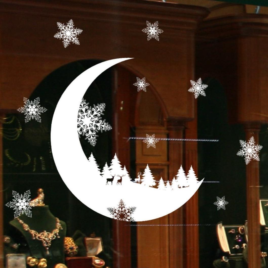 Stickers Muraux Vitres Decoration de Noël, Koly NoëL Autocollants blanche Flocon de neige lune et renne DéCoration Salon Fenêtre De La Chambre Kolylong