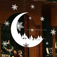 Stickers Muraux Vitres Decoration de Noël,Koly NoëL Autocollants blanche Flocon de neige lune et renne DéCoration Salon Fenêtre De La Chambre