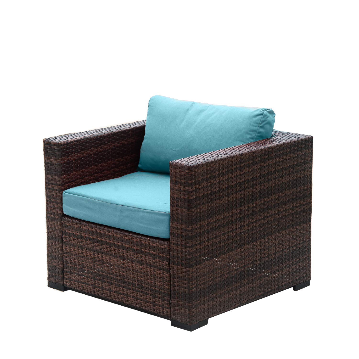 Auro patio wicker single chair with water resistant blue olefin cushion outdoor furniture all weather resin rattan arm chairpoolsideporchgarden 1