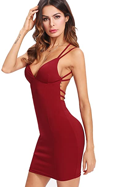 a317e423c95 MAKEMECHIC Women s Sexy Strappy V-Neck Backless Bodycon Cocktail Party Dress  Burgundy XS
