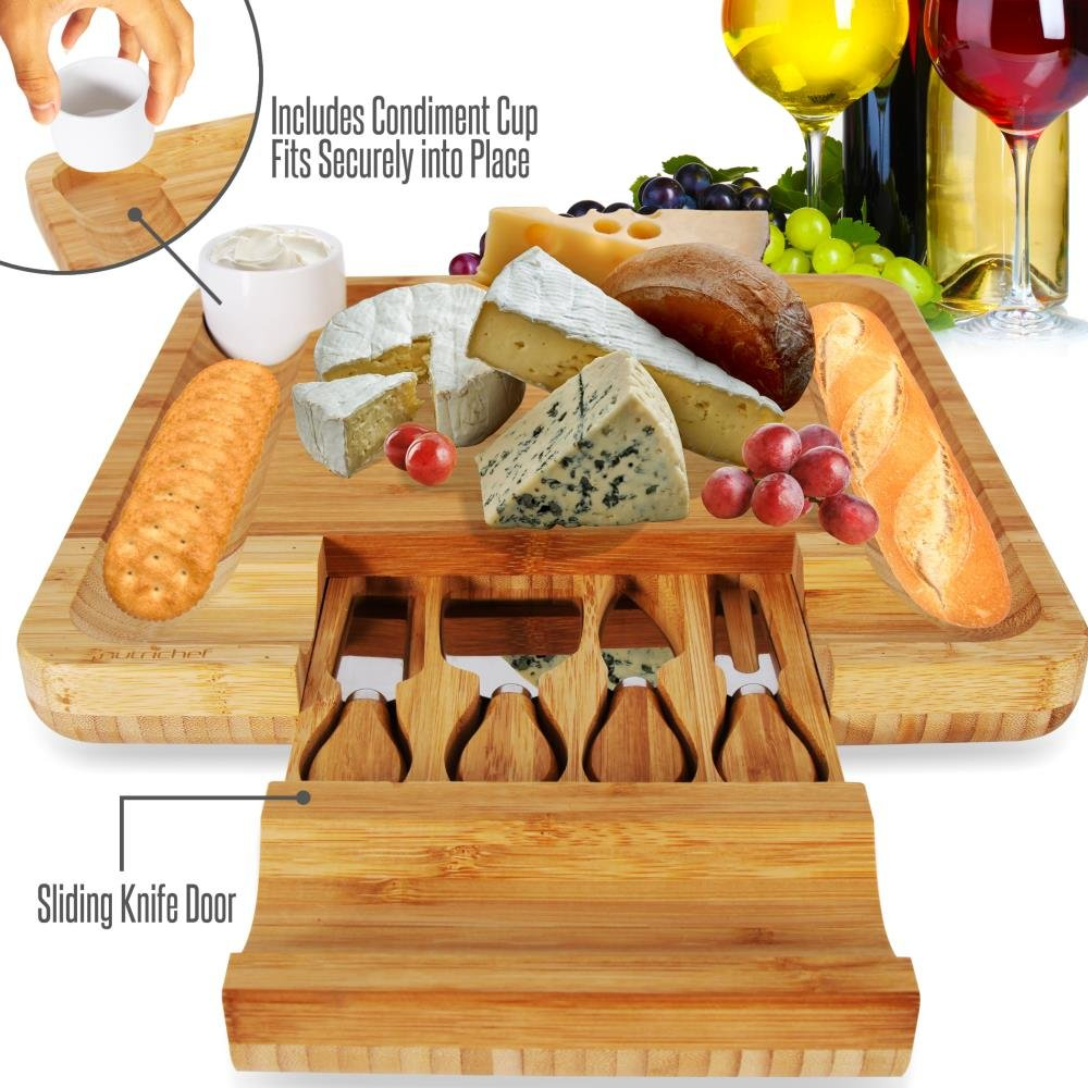 Bamboo Cheese Cutting Board Set - Bonus Condiment Cup - Closing Drawer Tray, 4 Stainless Steel Knives - Flat Wood Rectangle Serving Platter Plate Kit Fruit Meat - NutriChef by NutriChef (Image #3)