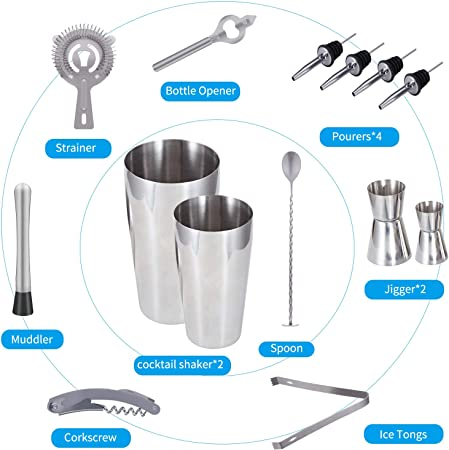 Cocktail Shaker Set Professional Bartender Kit – Premium Brushed Stainless Steel Martini Mixer, Spoon, pourers, Ice Tong, Strainer, Jigger, Muddler, Bottle Opener, Cork Screw for home Barware Tools