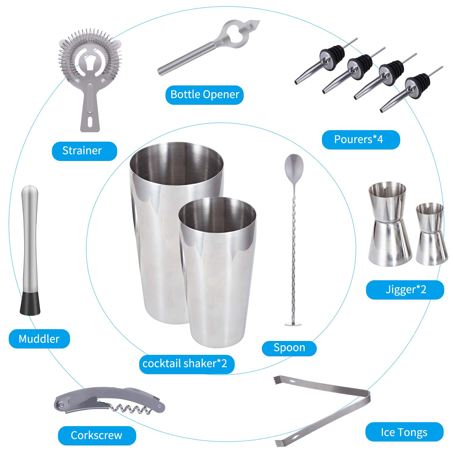 Cocktail Shaker Set Professional Bartender Kit - Premium Brushed Stainless Steel Martini Mixer, Spoon, pourers, Ice Tong, Strainer, Jigger, Muddler, Bottle Opener, Cork Screw for home Barware Tools by TOP BEAUTY (Image #2)