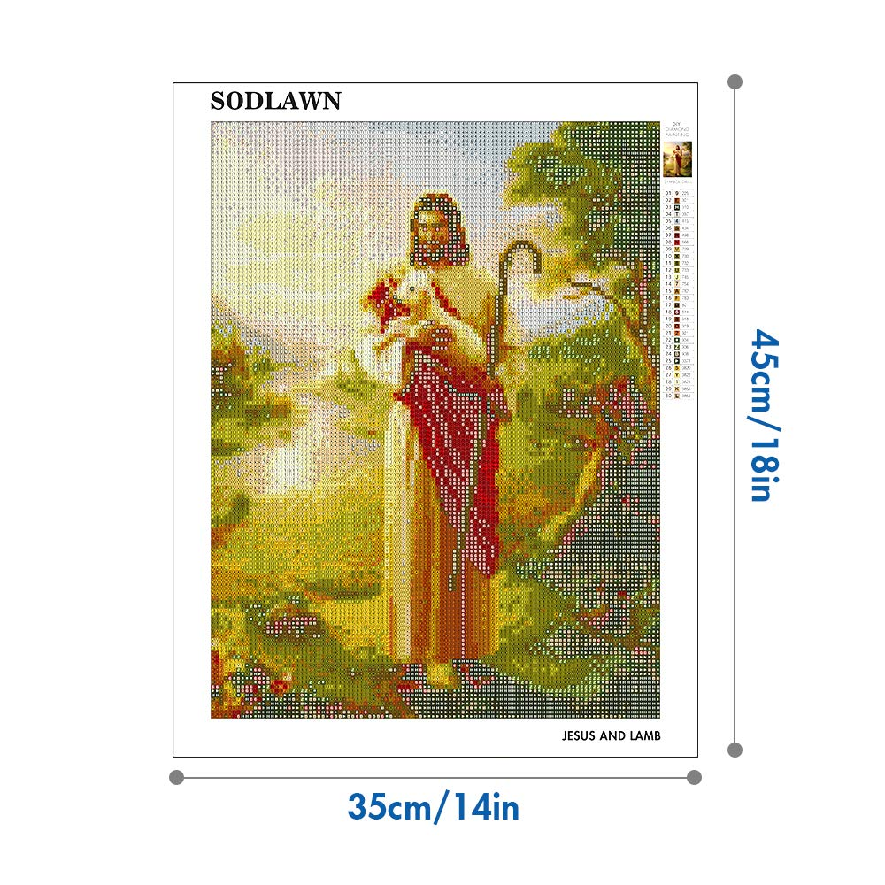 Lamb SODLAWN DIY 5D Diamond Painting by Number Kit for Adults Kids Full Round Drill Crystal Rhinestone Embroidery Cross Stitch Kits Arts Craft for Home Wall Decor 12x16 inch