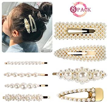8223ce2914bfe Amazon.com : Pearl Hair Clips - Women Hair Pins Elegant Gold Hair Barrettes  Styling Tools Birthday Wedding Parties Accessories Gifts : Beauty