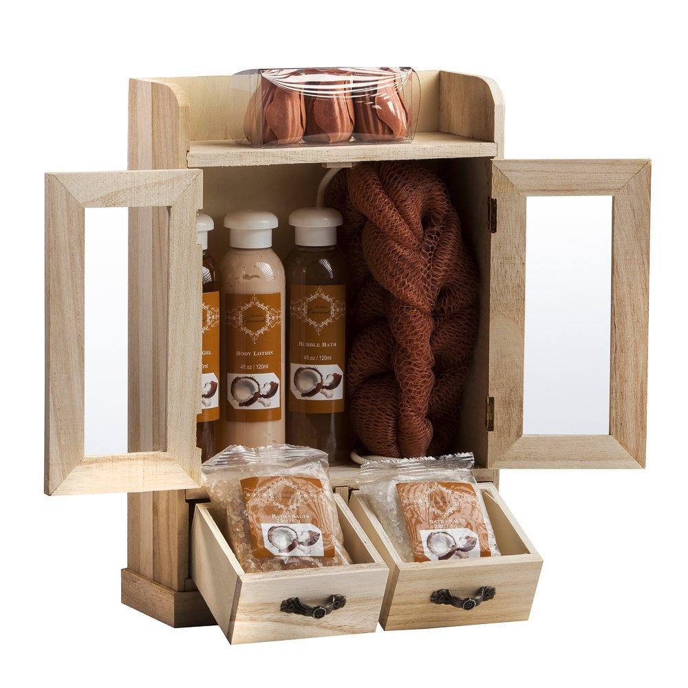 Brubaker Cosmetics 10 Pcs Beauty Gift Set Women Wooden Cabinet Coconut