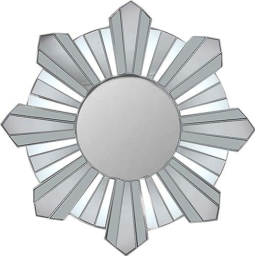 Northlight 25 Silver Sunburst Wave Glass Matte Round Wall Mirror