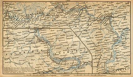 Novgorod Russia Map.Amazon Com Volga River Nizhny Novgorod Kazan Simbirsk Samara