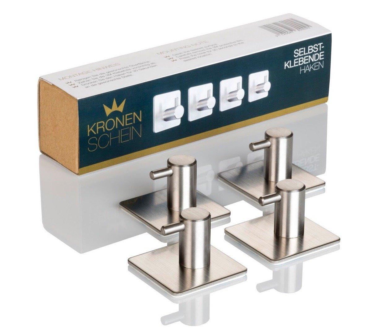 Portasciugamani con fissaggio senza trapano con tenuta massima fino a 8kg 4 ganci Kronenschein originali da incollare al muro per il bagno o la cucina