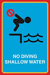 No Diving Shallow Water Print Man Swimming Picture Notice Safety Pool Business Sign Aluminum Metal