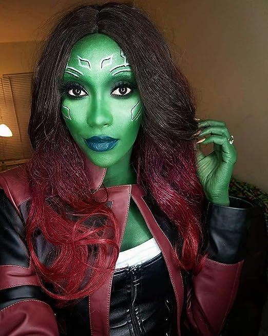Long Wavy Wig Two Tone Adult Womens Female Superhero Costume Cosplay Fancy Dress