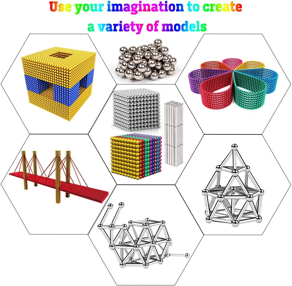 Magnetic Beads Magnetic Building Blocks 483PCS 7 Colors Magnets Sculpture Building Blocks Toy for Kids for Intelligence Learning Development and Creative Educational Toy Office Toy /& Stress Relief