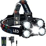 Linterna frontal LED Recargable de Trabajo, 10000 Lúmenes, 4 Modos de Luz con Flash, Zoom in/out, Ligera Elástica, Impermeable para Ciclismo, Correr, Deportes Nocturnos