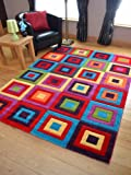 Candy Multicoloured Squares Design Rug. Available in 5 Sizes (200cm x 300cm)