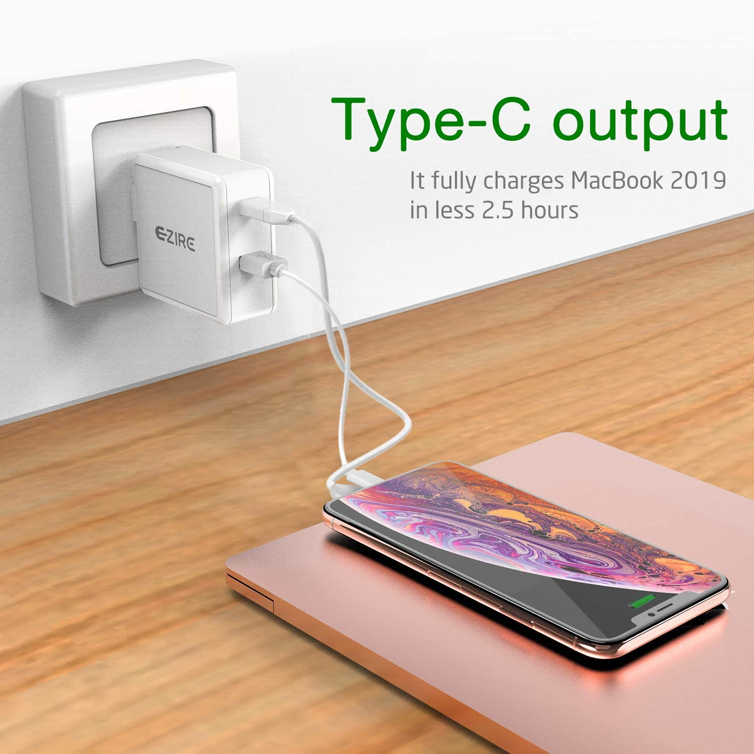 Quick Charge 3.0 Ezire 36W USB Wall Charger Plug 3Ports USB Power Adapter PD QC49.5W Charger