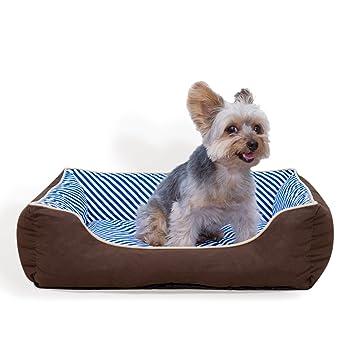 Stinky G Cama del Perro Rayas oblicuas 100% algodón (Medio 65 x 55 cm, Azul): Amazon.es: Juguetes y juegos