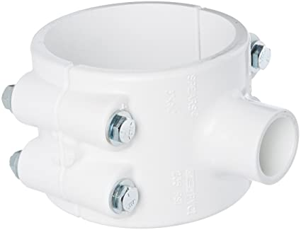 Spears 466 Series PVC Clamp-On Saddle with Buna O-Ring, Zink Bolt, Schedule  40, White, 2