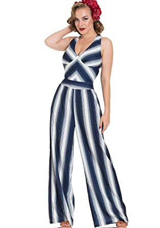 4ee76be54bd VOODOO VIXEN Women s Grace Nautical Striped Jumpsuit - Off-White - Large