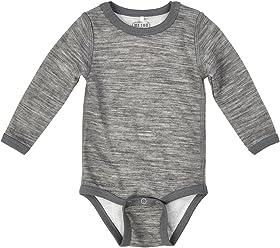 100% Merino Wool/Bamboo Boy Girl Unisex Onesie Bodysuit - Grey Melange 3 Months