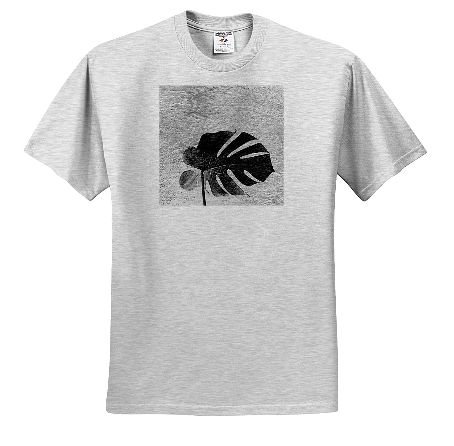 ts/_314210 Adult T-Shirt XL 3dRose Cassie Peters Digital Art Tropical Leaf in Black and White
