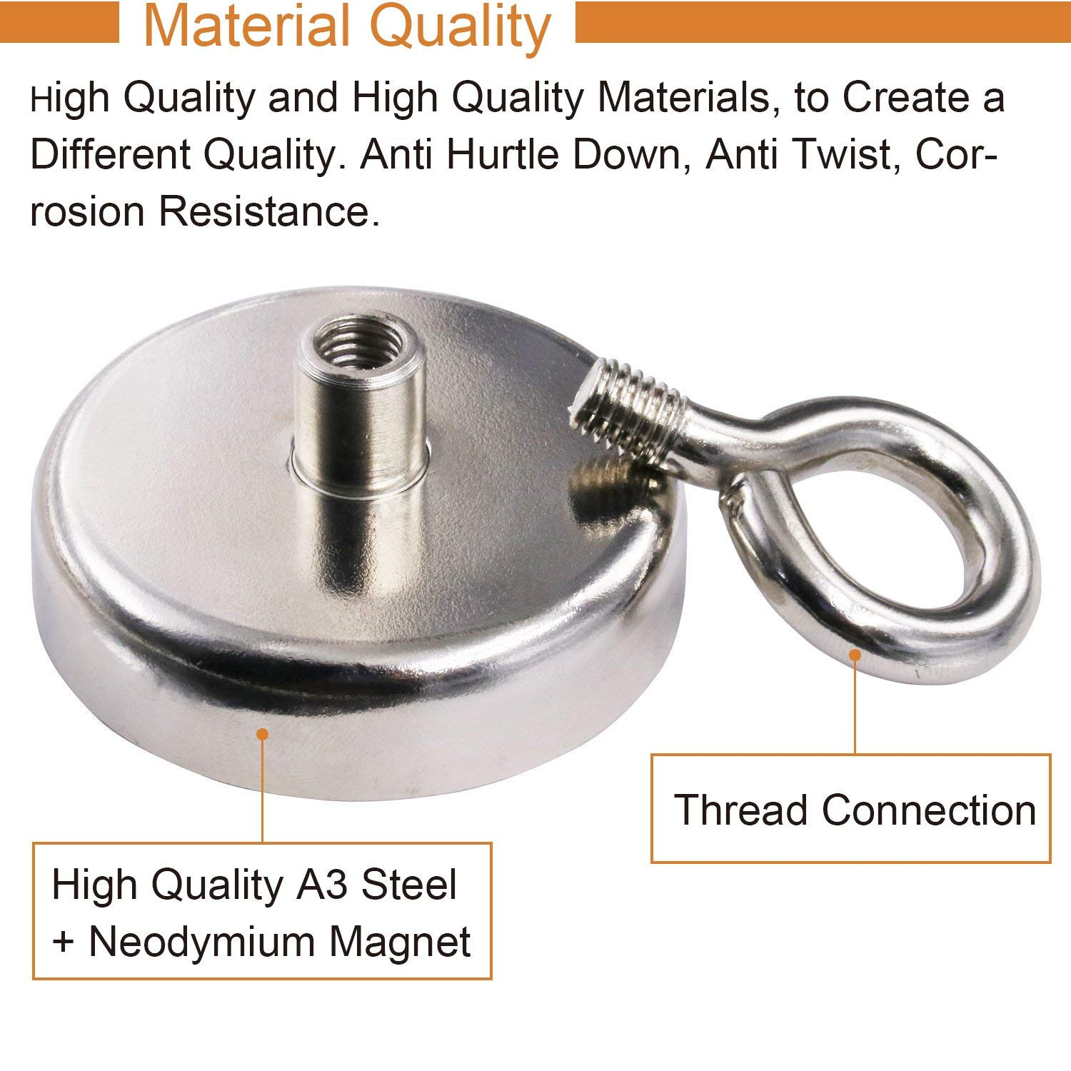 MORICAI Super Strong Neodymium Fishing Magnets for Retrieving in River and Magnetic Fishing, 242 lbs (110kg)