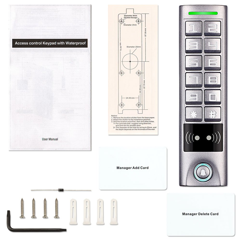 Access Control Keypad Zoter Waterproof Ip65 Rfid Card Wiring Drawing Reader 125khz Alloy Metal Button Camera Photo
