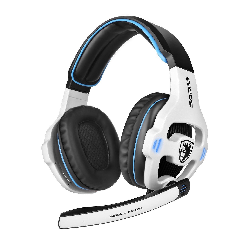 GHB Sades SA-903 7.1 CH Stereo Gaming Headset USB Headset Bä sse und Hö hen Kopfhö rer mit USB Stecker und Mikrofon Verkabelt 3m Kabel Weiss gohappybuy