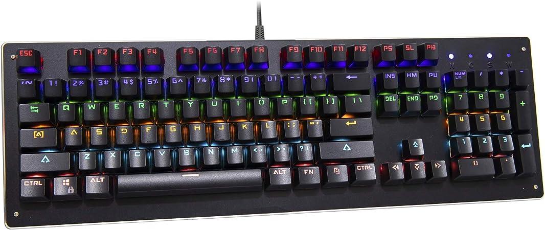 Neo QWERTY U-10 Teclado mecánico para Juegos, Colorido con Cable USB, Base de Aluminio, con Interruptor Azul, 104 Teclas estándar, Anti-Fantasma para ...