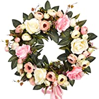 "Sunm Boutique Rose Floral Twig Wreath, 14"" Handmade Silk Rose Flower Door Wreath with Green Leaves, Vintage Artificial..."