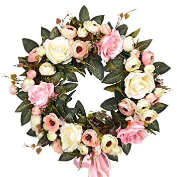 Sunm Boutique Rose Floral Twig Wreath 14 Handmade Silk Rose Flower Door Wreath With Green Leaves Vintage Artificial Flowers For Front Door Wedding