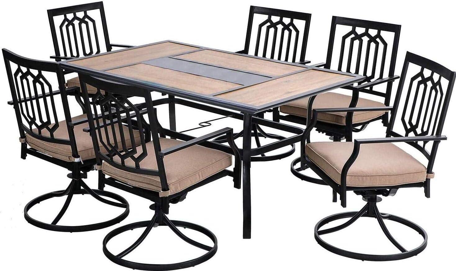 PHI VILLA 7-Piece Outdoor Furniture Dining Set, 1 Rectangle 60