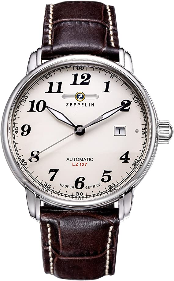 Zeppelin Mens Watch 76565 with Beige Dial and Brown Leather Strap: Amazon.de: Uhren