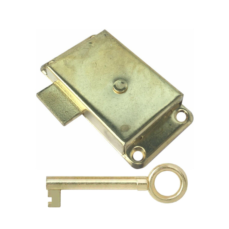 Large Brass 63mm Lock Wardrobe Drawer Cabinet Door Bedroom Catch 2 Keys /& Screws