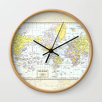 Amazon society6 vintage world map wall clock natural frame society6 vintage world map wall clock natural frame black hands gumiabroncs Gallery