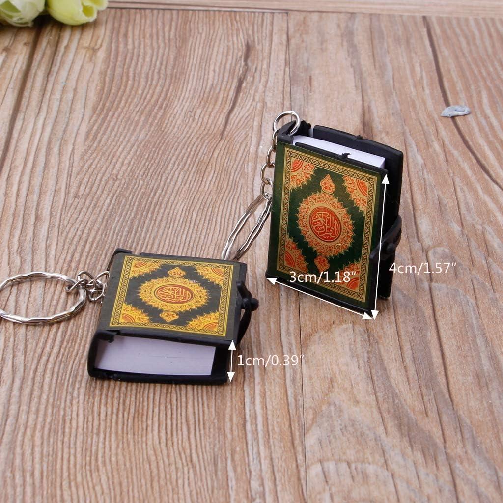 Yajiun Portes Cl/és Mini Livre Coran Livre V/éritable Papier Peut Lire Arabe Le Coran Porte-cl/és Bijoux Musulmans Vert, 1