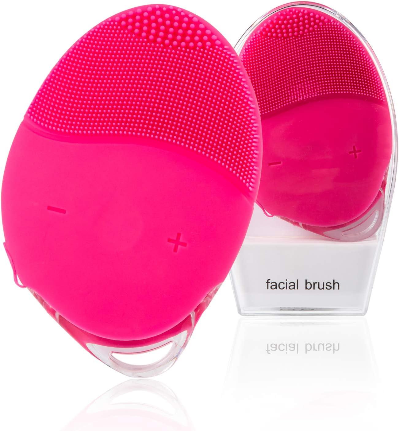 Cepillo de Limpieza Facial, H/E Mini Masajeador Facial de Silicona Cepillo Facial Eléctrico Limpieza profunda Impermeable y recargable,Exfolia delicadamente y elimina las células muertas (Rosa)
