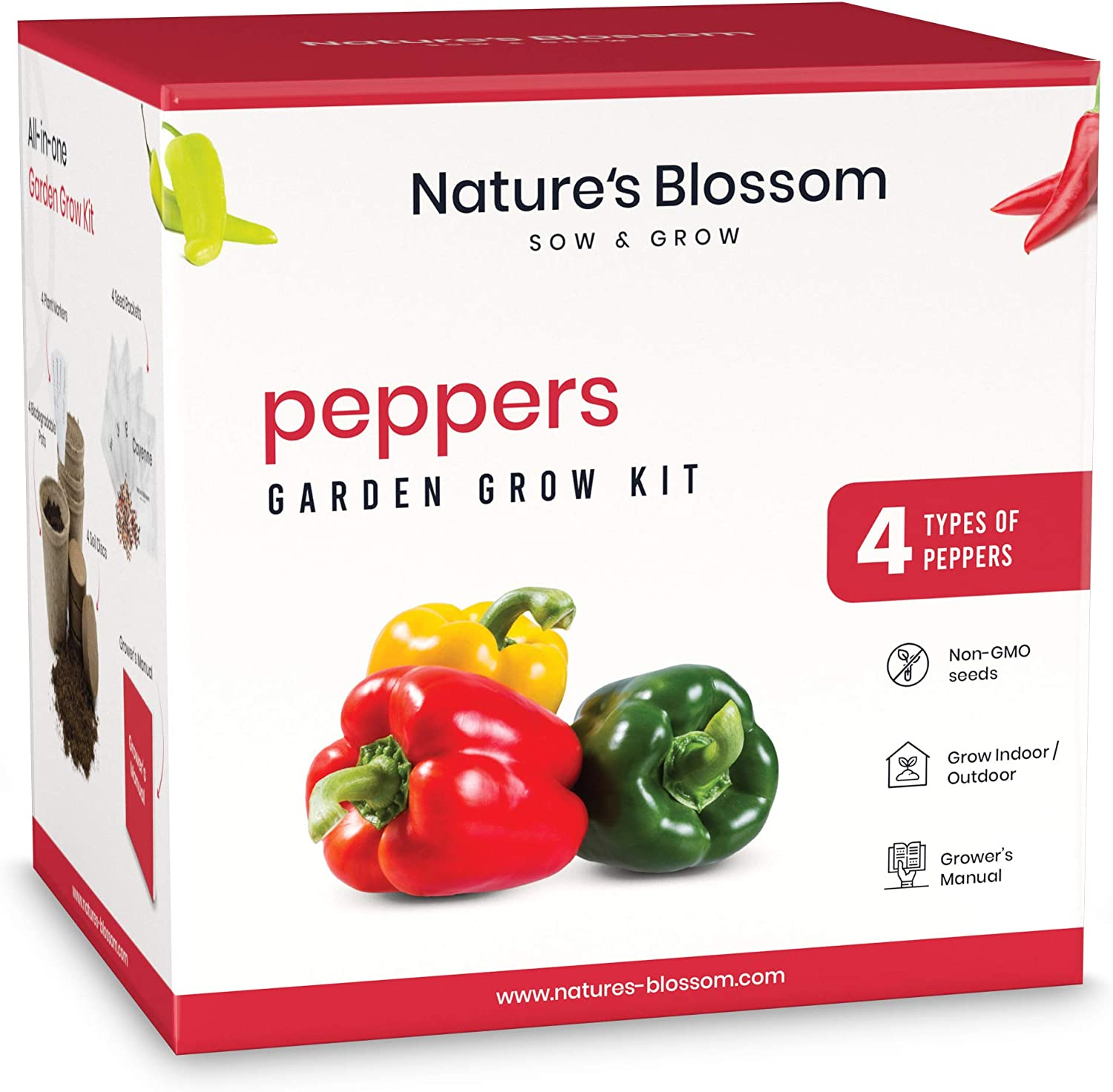 Nature's Blossom Sow and Grow Seed Starter Kits - Beginner Gardening Sets with Everything You Need to Grow Plants from Seed (Peppers)