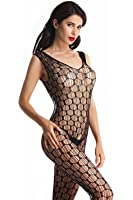 Amoretu Women Lace Tight Crotchless Lingerie Suspender Fishnet Bodystocking