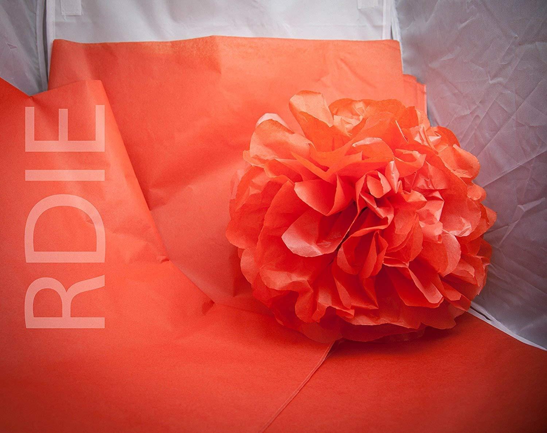 48 feuilles de papier de soie Orange, 50x75cm, 18 grs Rdie
