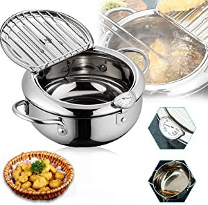 Deep Frying Pan,Temperature Control Fryer Japanese-style Tempura Deep Fryer Lid And Oil Drip Drainer Rack Nonstick Stainless Steel Fryer Pot for Kitchen Cooking 24cm304