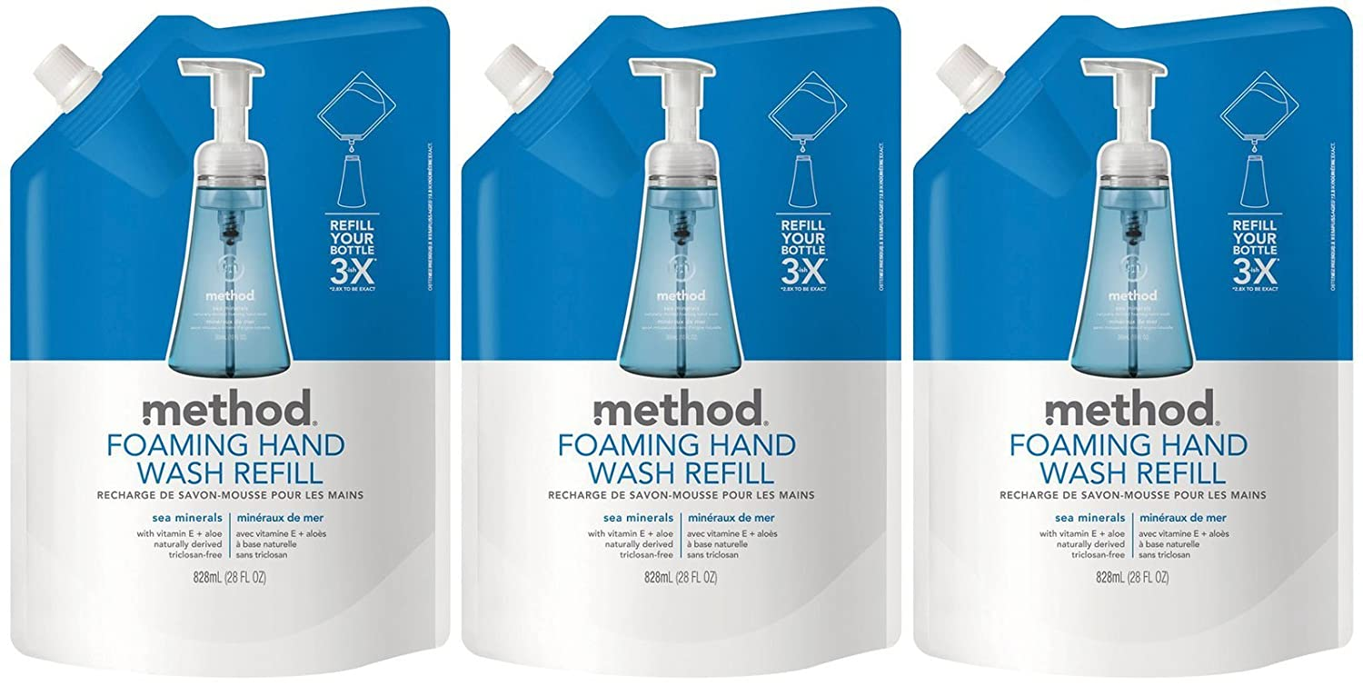 Method Foaming Hand Wash Refill Pouch, Sea Minerals, 28 Fl Oz (Pack of 3): Beauty