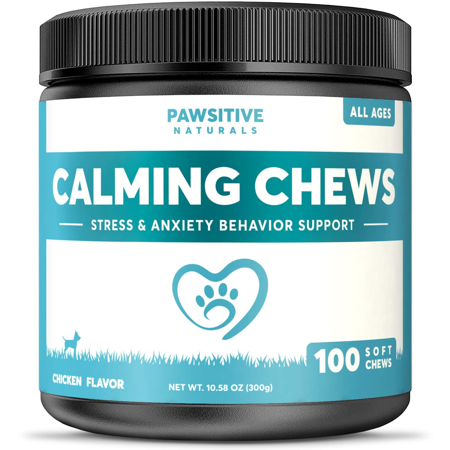 Calming Treats For Dogs - 100 Soft Chews for Stress & Anxiety Relief with Valerian Root - Separation & Composure Aid for Chewing & Barking Pets with Hyperactive & Aggressive Behavior - Calm Relaxant by Pawsitive Naturals