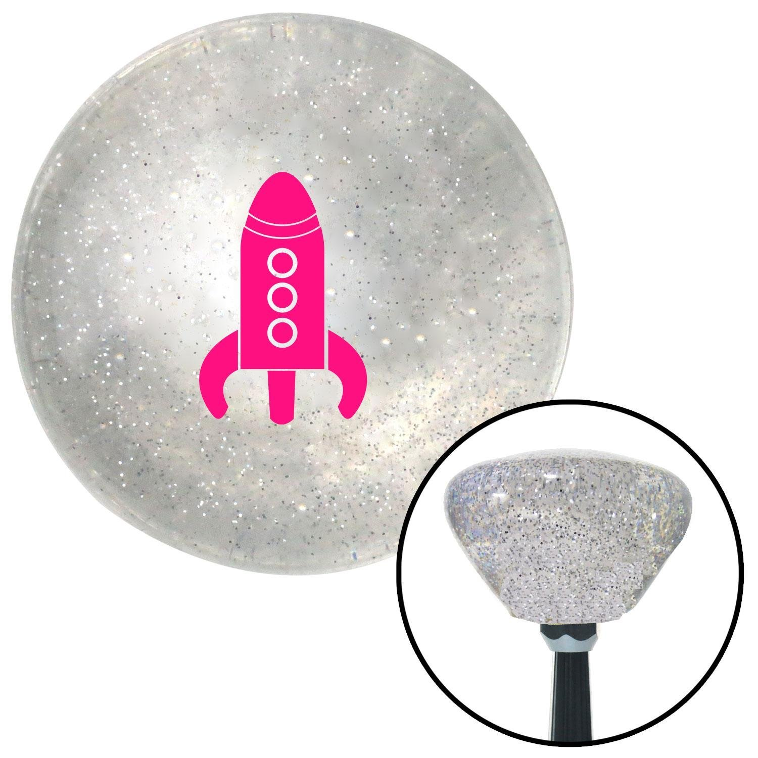 Pink Space Ship American Shifter 164171 Clear Retro Metal Flake Shift Knob with M16 x 1.5 Insert