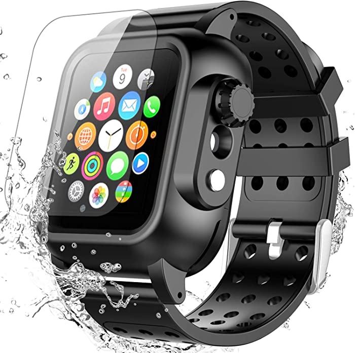 Apple Watch Series 5/4 44mm Case with Band, SPIDERCASE Built-in Screen Protector Full Body Rugged Case, Daily Waterproof, Anti-Scratch, Shockproof, Soft Silicone Band for Apple Watch Series 5/4 44mm